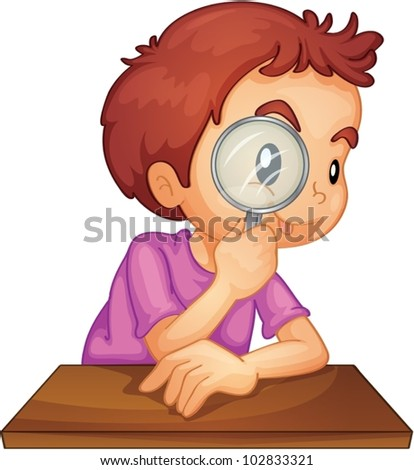 Illustration of a boy using a magnifying glass - stock vector