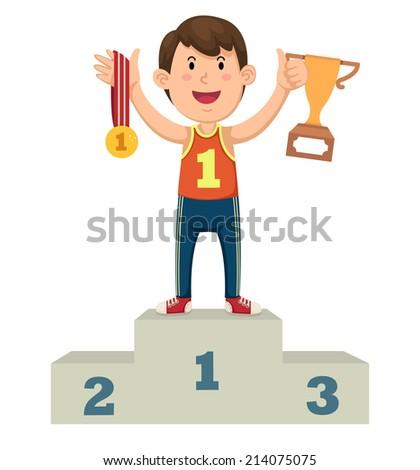 Illustration of a boy winner on a podium - stock vector