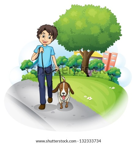 Illustration of a boy with a dog walking along the street on a white background.