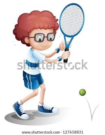 Illustration of a boy with an eyeglass playing tennis on a white background - stock vector