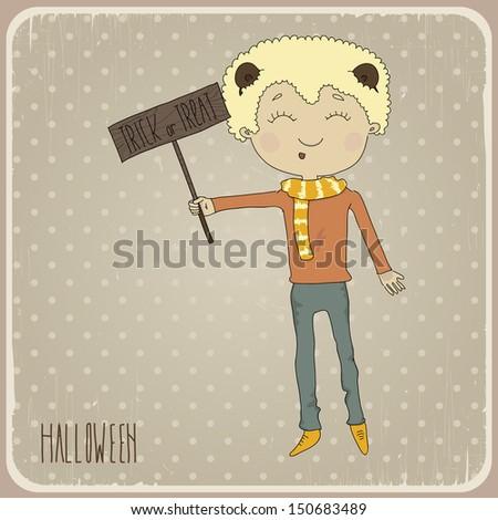 Illustration of a boy with bear ears. Postcard on Halloween. Eps 10 - stock vector