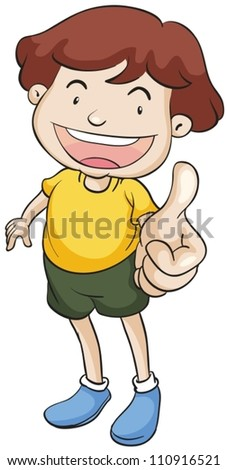 illustration of a boy with thumbs up on a white background - stock vector