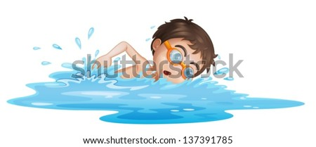 Illustration of a boy with yellow goggles on a white background - stock vector