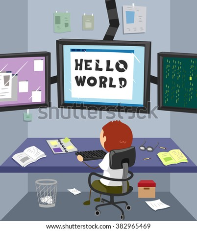Illustration of a Boy Writing Codes in His Room - stock vector