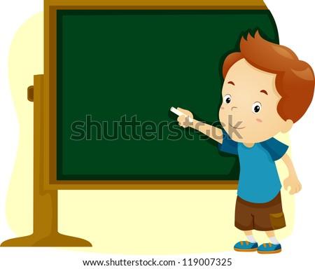 Illustration of a Boy Writing on a Blackboard - stock vector