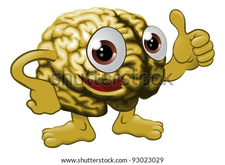 Illustration of a brain cartoon character giving a thumbs up sign