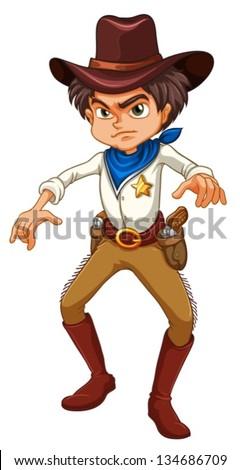 Cartoon Cowboy Ready Draw Isolated Stock Vector 104312420 ...