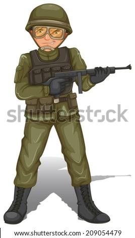 Illustration of a brave military soldier on a white background - stock vector