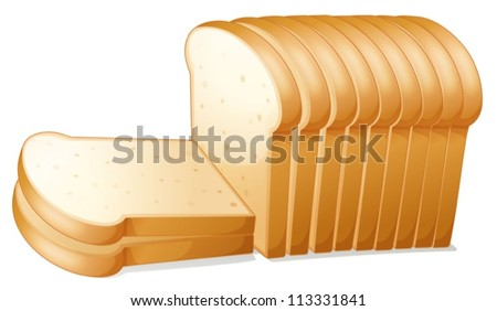 illustration of a bread slices on a white background - stock vector
