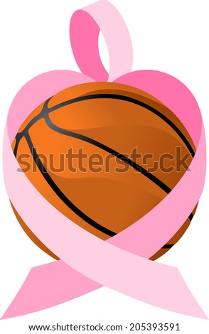 illustration of a breast cancer ribbon forming a heart wrapped around a basketball.  - stock vector