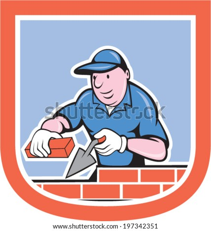 illustration of a bricklayer mason plasterer worker holding trowel and brick on isolated background set inside shield crest done in cartoon style. - stock vector