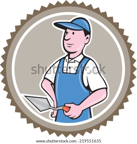 Illustration of a bricklayer mason plasterer worker standing holding a trowel set inside rosette on isolated background done in cartoon  style. - stock vector