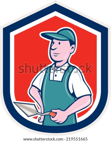 Illustration of a bricklayer mason plasterer worker standing holding a trowel set inside shield crest on isolated background done in cartoon  style. - stock vector