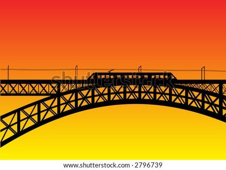 illustration of a bridge with metro - stock vector