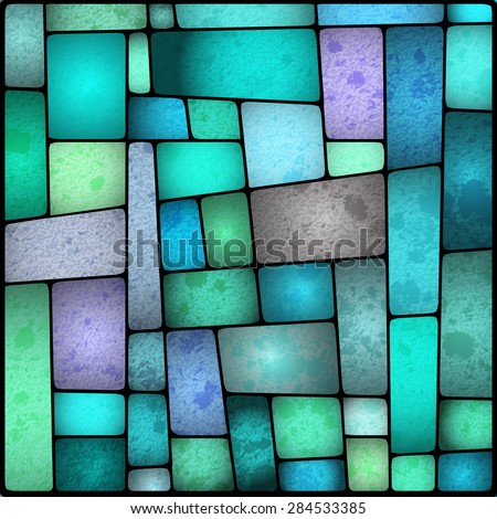 Illustration of a bright and colourful stained glass window - stock vector