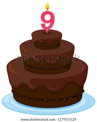 illustration of a brown birthday cake on a white background - stock vector