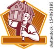 Illustration of a builder construction worker with hammer carrying house on shoulder set inside shield done in retro style. - stock vector