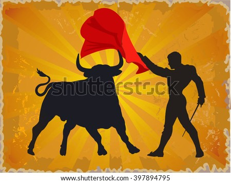 Illustration of a bull and a matador in Spain - stock vector
