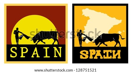 Illustration of a bull and a matador in Spain, vector - stock vector