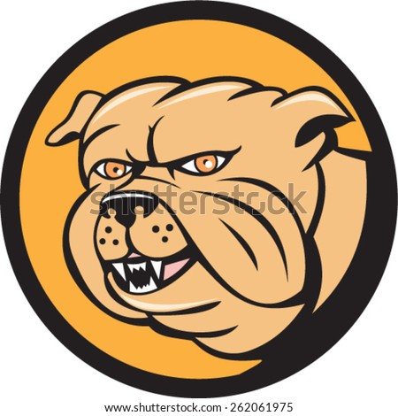 Illustration of a bulldog head looking to the side set inside circle on isolated background done in cartoon style.
