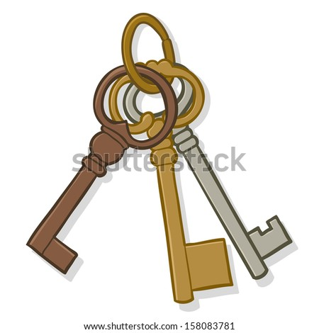 Illustration of a bunch of three different old simple brass metal keys on a keyring isolated on white - stock vector