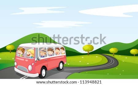 illustration of a bus and road in a beautiful nature - stock vector