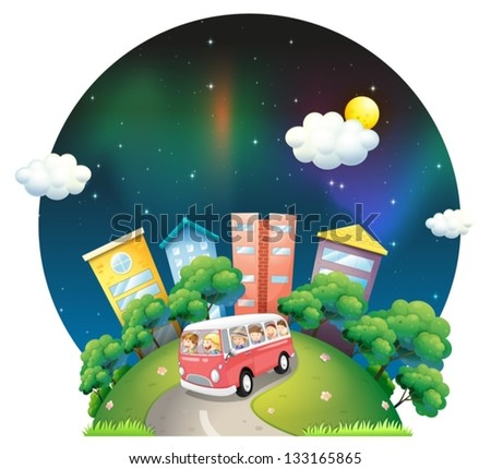 Illustration of a bus full of kids on a white background - stock vector