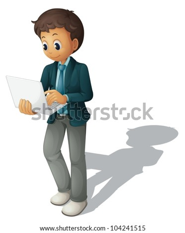 Illustration of a business guy using a computer - stock vector