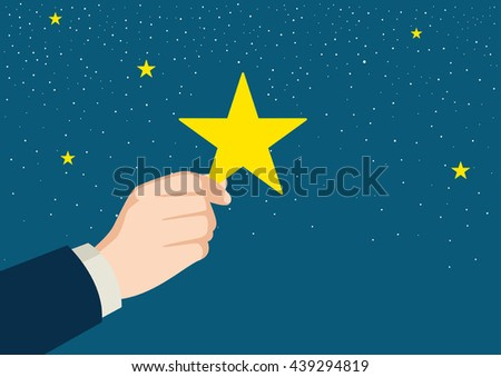Illustration of a businessman hand picking up a star - stock vector