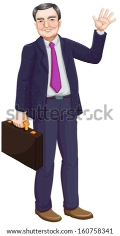 Illustration of a businessman on a white background - stock vector