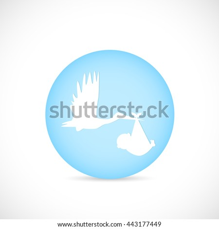 Illustration of a button with a stork carrying a baby isolated on a white background. - stock vector