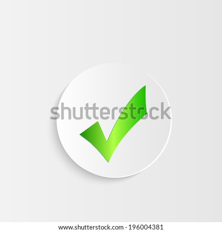 Illustration of a button with checkmark symbol isolated on a white background. - stock vector
