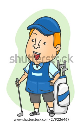 Illustration of a Caddy Standing Beside a Golf Bag - stock vector