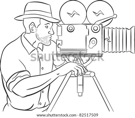 illustration of a Cameraman with vintage camera shooting side view done in the style of cartoon style isolated on white