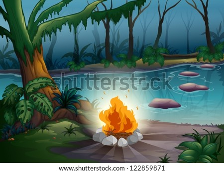 illustration of a camp fire in a beautiful nature