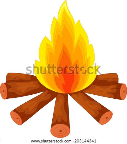 Illustration of a campfire on white - stock vector
