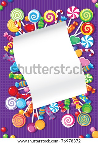 illustration of a candy and sweets card - stock vector