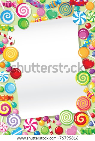 illustration of a candy card - stock vector