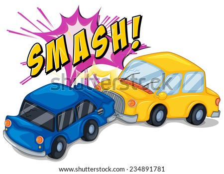 Illustration of a car accident - stock vector