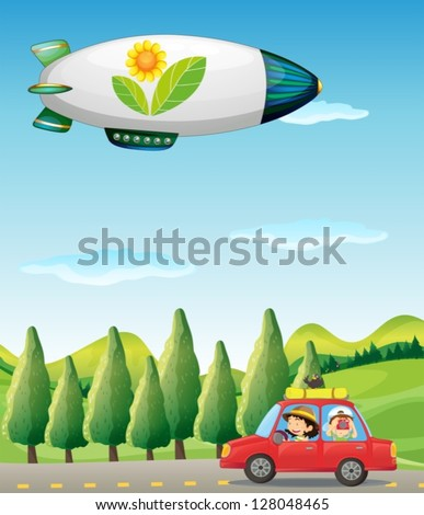 Illustration of a car in the road and a spaceship - stock vector