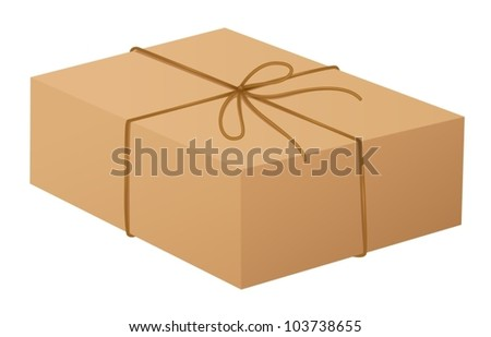 Illustration of a cardboard box on white - stock vector
