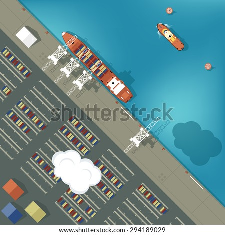 Illustration of a cargo port in flat style. Top view. Ship and harbor, sea and boat, industry shipping transport, crane and dock vector - stock vector
