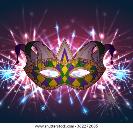 Illustration of a carnival mask Mardi Gras with fireworks. For your creativity - stock vector
