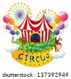 Illustration of a carnival with a circus signboard on a white background - stock vector