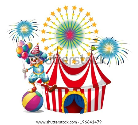 Illustration of a carnival with a clown holding balloons on a white background - stock vector