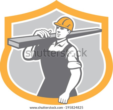 Illustration of a carpenter builder carry carrying lumber on shoulder set inside shield crest shape on isolated background.