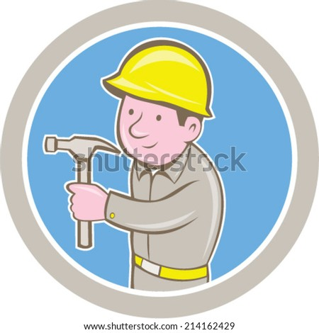 Illustration of a carpenter builder construction worker with hammer looking to side set inside circle on isolated background done in cartoon style.