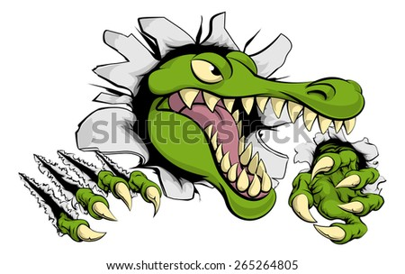 Illustration of a cartoon alligator or crocodile smashing through a wall with claws and head - stock vector