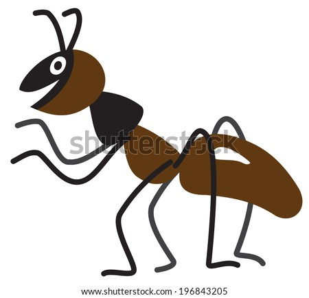 Illustration of a cartoon ant on white background - stock vector