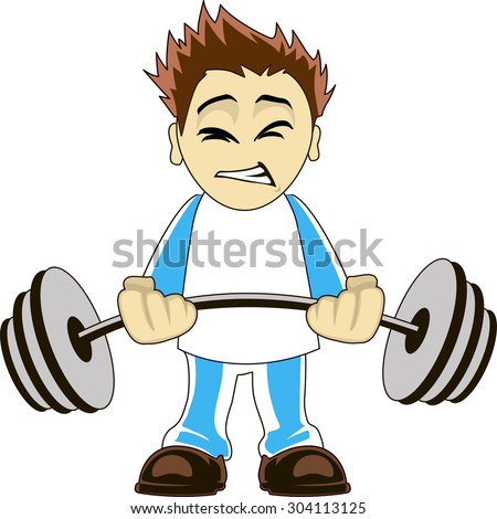Illustration of a cartoon bodybuilder lifting heavy weights - stock vector